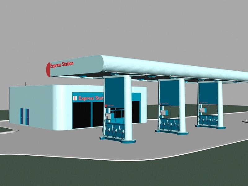 Gas Station Building 3d rendering