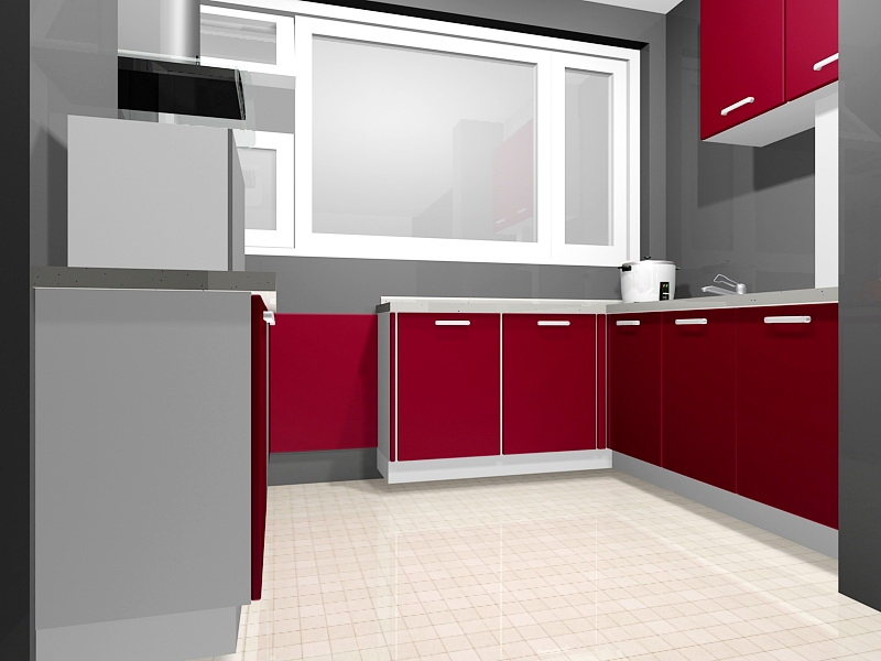 Small Red Kitchen Ideas 3d rendering