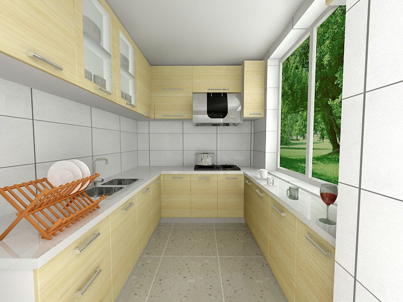 Contemporary Country Kitchen Ideas 3d rendering