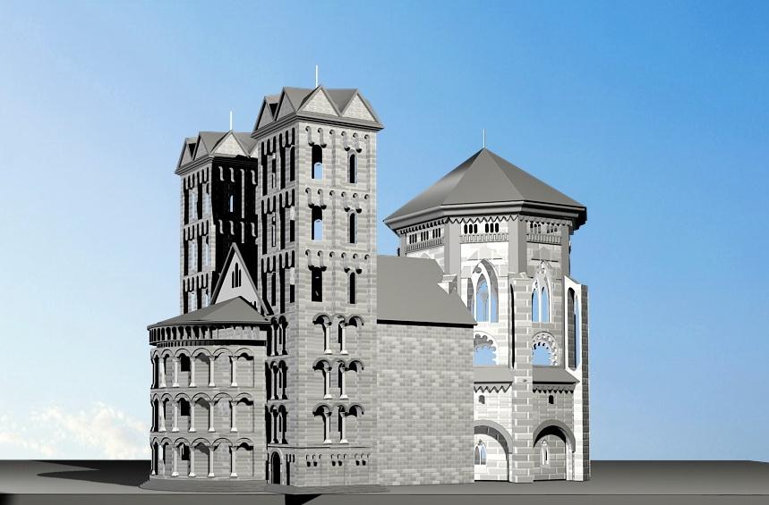Old Castle Architecture 3d rendering