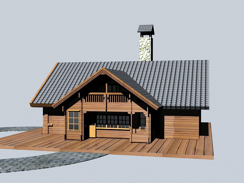 Rustic Modern Cabin 3d rendering
