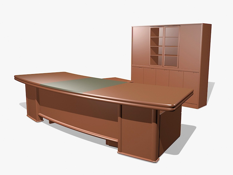 Executive Office Desk and Credenza 3d rendering