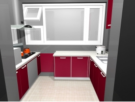 Small Red Kitchen Ideas 3d preview