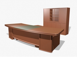 Executive Office Desk and Credenza 3d preview
