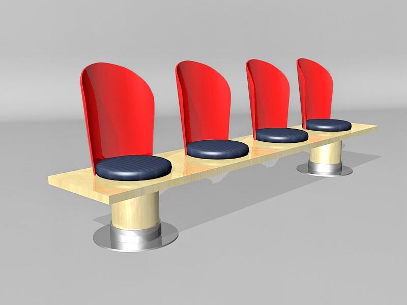 Fixed Public Seat 3d rendering