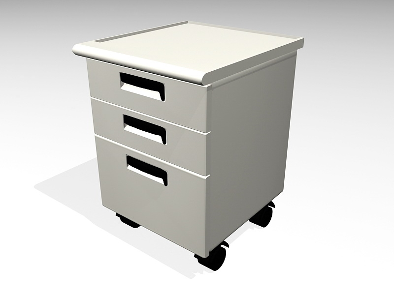 White Filing Cabinet 3d rendering