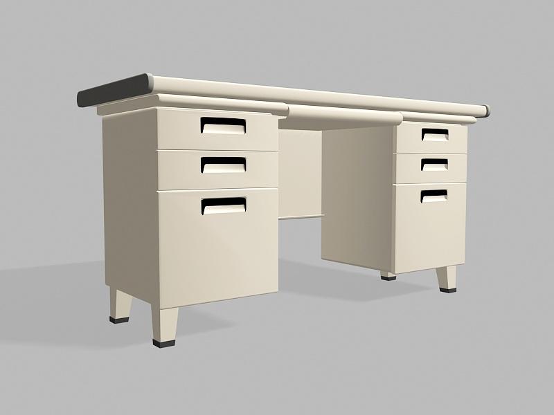 Old Office Computer Desk 3d rendering