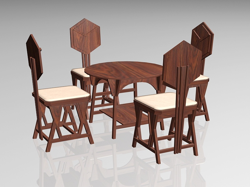 Rustic Country Dining Room Set 3d rendering