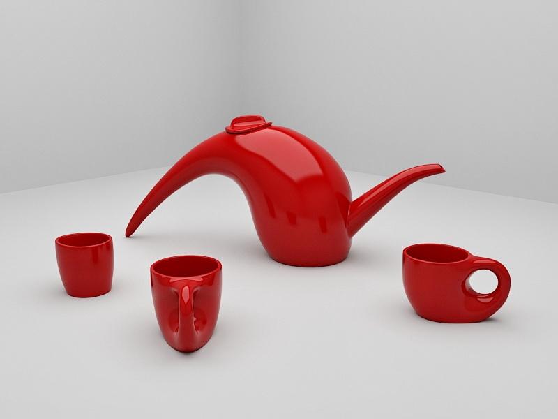 Vintage Red Porcelain Coffee Tea Set 3d rendering