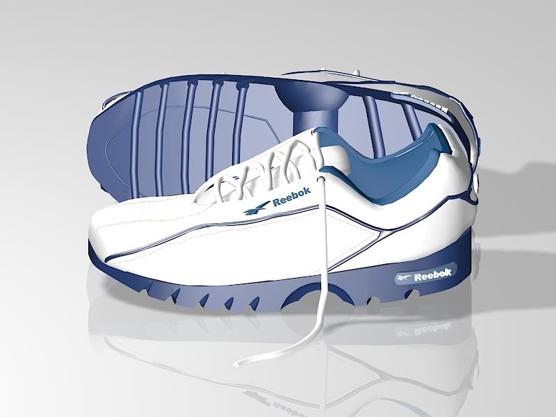 White Reebok Sneakers 3d rendering