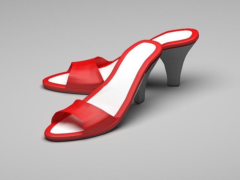 Red High Heel Slippers 3d rendering