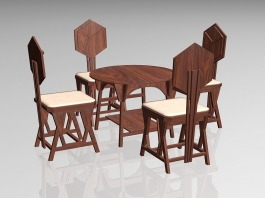 Rustic Country Dining Room Set 3d preview