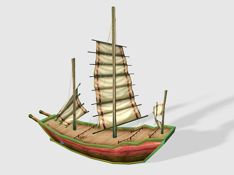 Vintage Small Sailing Ship 3d rendering