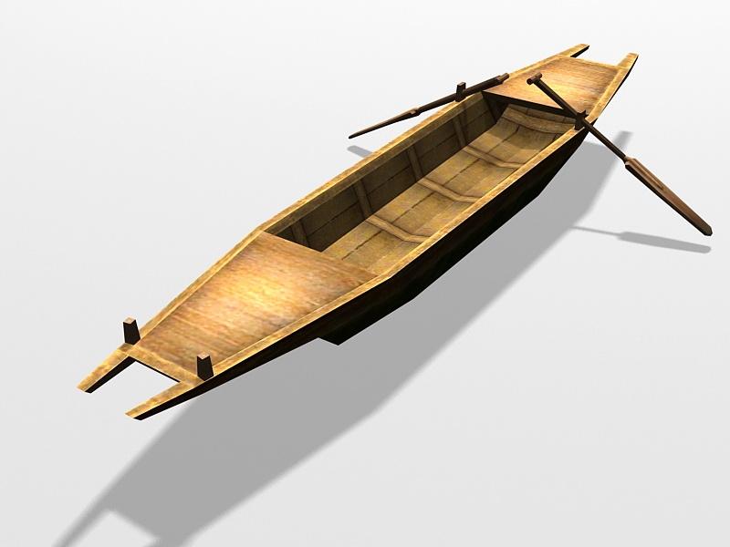 Vintage Wooden Row Boat 3d rendering
