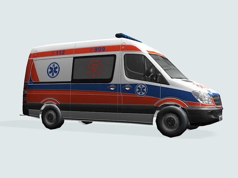 Low Poly Ambulance Truck 3d rendering