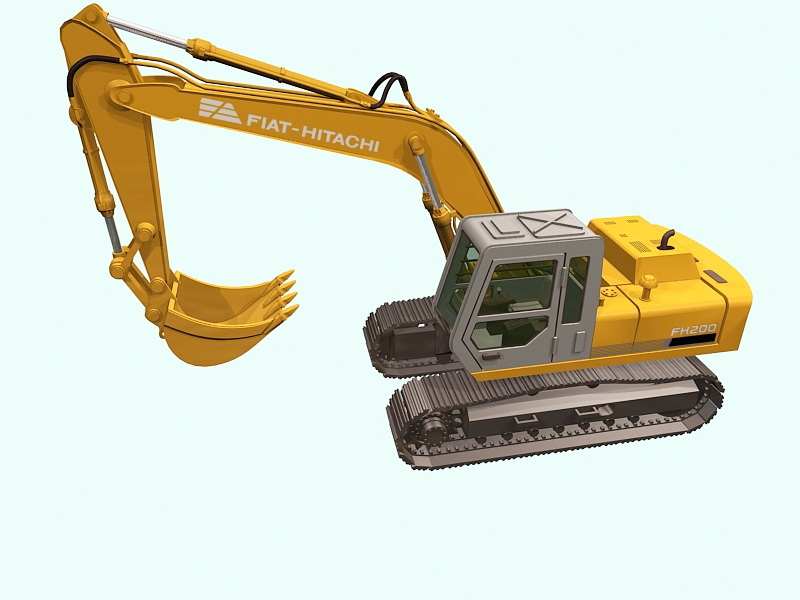 Fiat-Hitachi FH200 Tracked Excavator 3d rendering