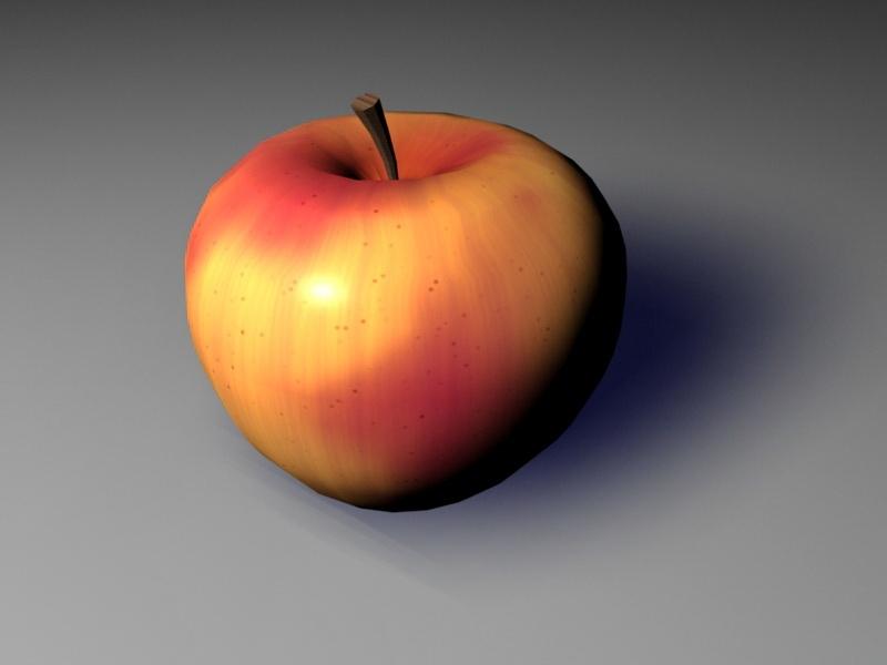 Old Red Apple 3d rendering