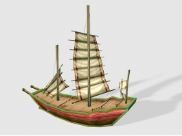 Vintage Small Sailing Ship 3d preview