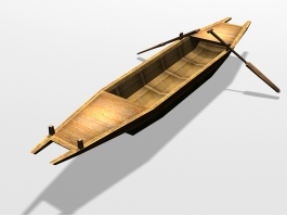 Vintage Wooden Row Boat 3d preview