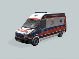 Low Poly Ambulance Truck 3d preview