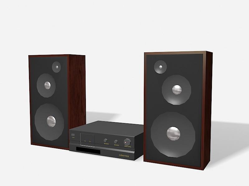 Speakers and Amplifier 3d rendering