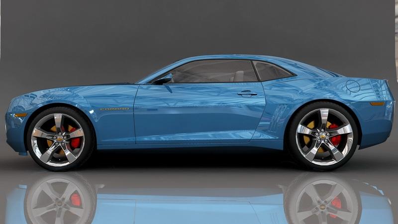 Blue Camaro 3d rendering