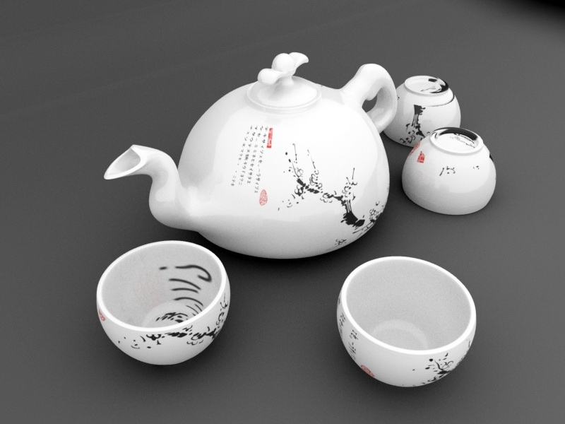 Korean Tea Set 3d rendering