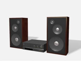 Speakers and Amplifier 3d preview