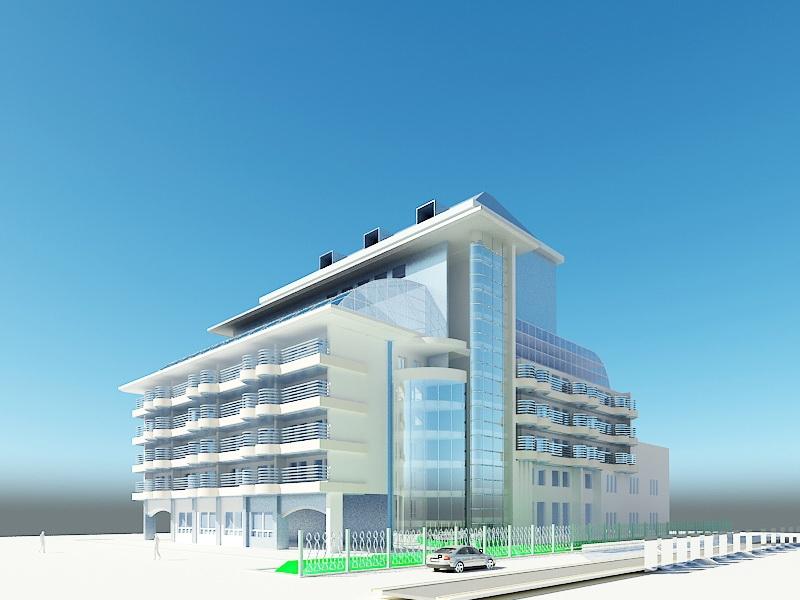 Condominium Complex 3d rendering