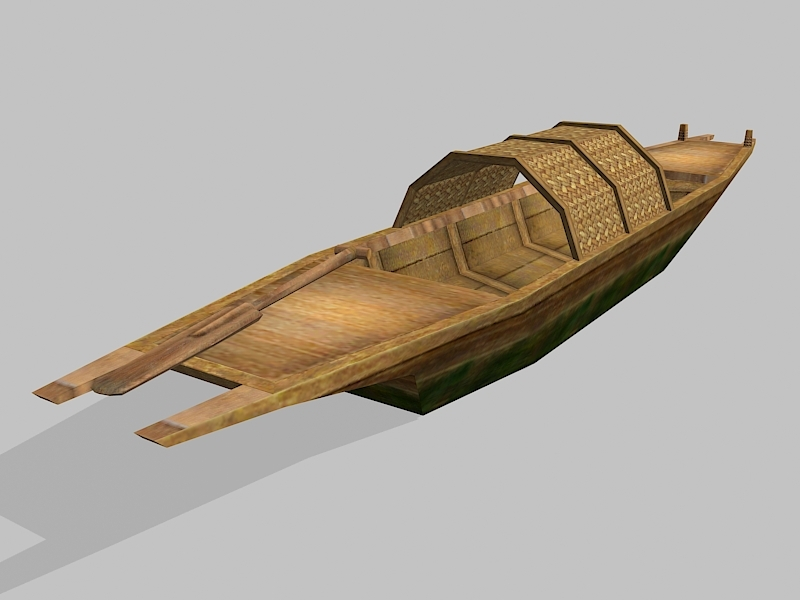 Low Poly Antique Wooden Boat 3d rendering