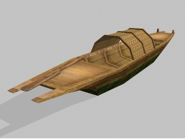Low Poly Antique Wooden Boat 3d preview