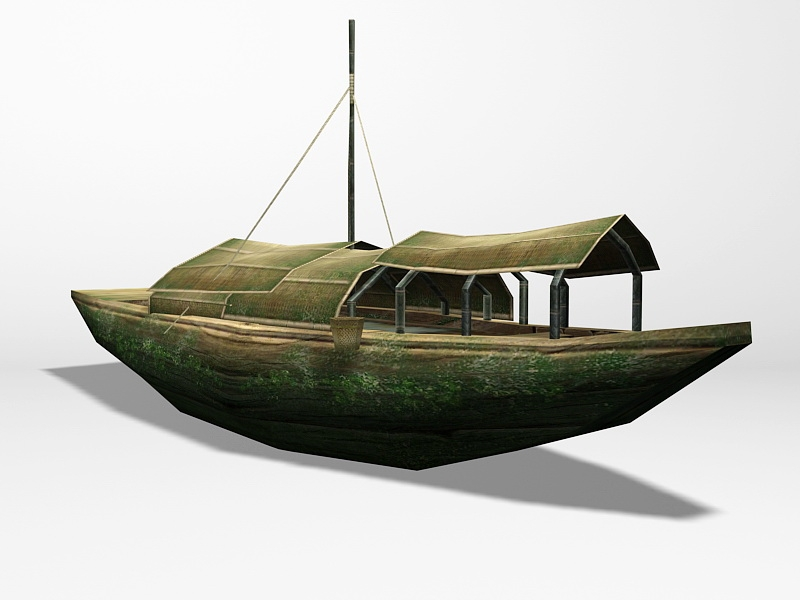 Antique Chinese Boat 3d rendering