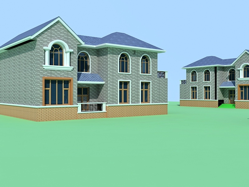 Chinese Village House 3d rendering