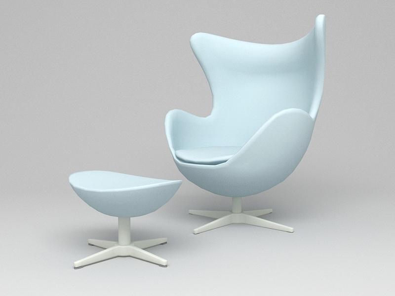 Egg Chair & Ottoman 3d rendering