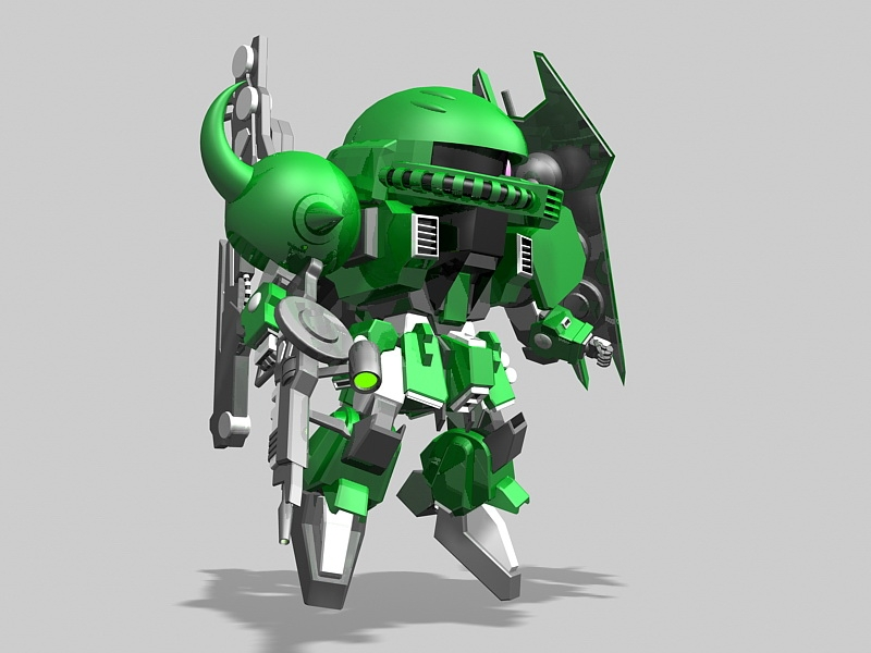 MS-06 Zaku II Type C Gundam Rigged 3d rendering