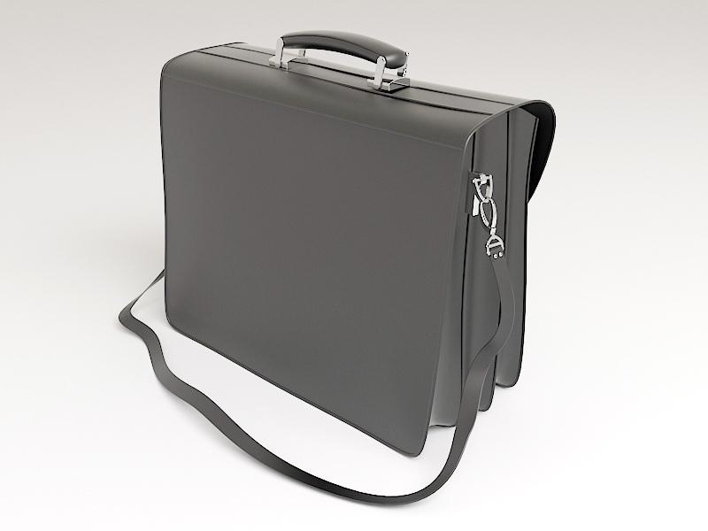 Black Leather Briefcase 3d rendering
