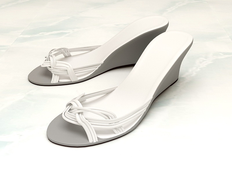 White Wedge Sandals 3d rendering