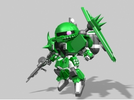MS-06 Zaku II Type C Gundam Rigged 3d preview