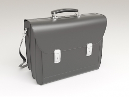 Black Leather Briefcase 3d preview