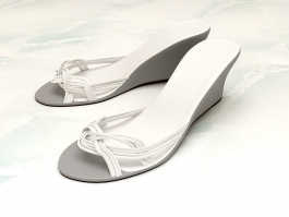 White Wedge Sandals 3d preview