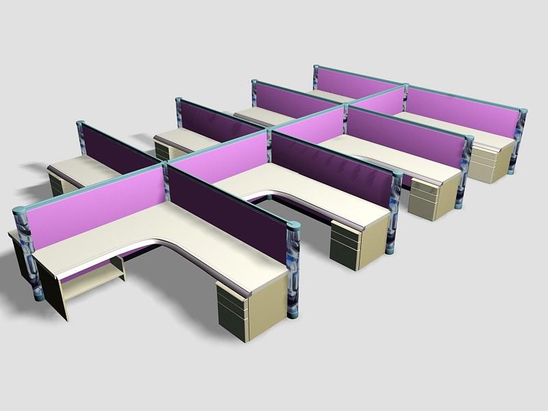 Purple Office Cubicles 3d rendering