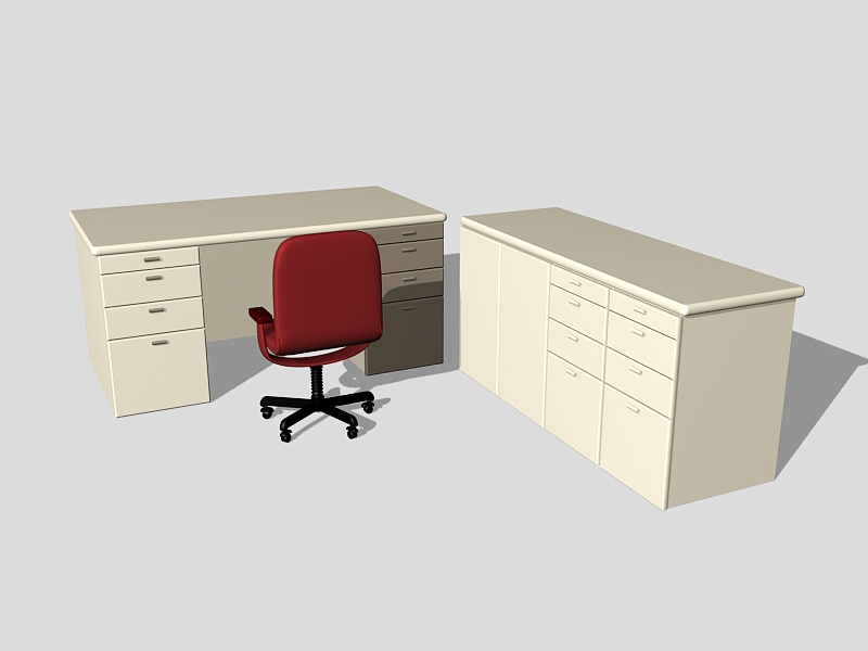 Office Desk with Storage 3d rendering