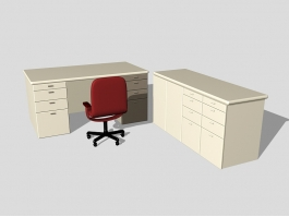 Office Desk with Storage 3d model preview