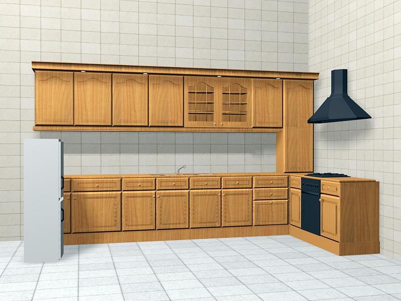 Retro Kitchen Design 3d rendering