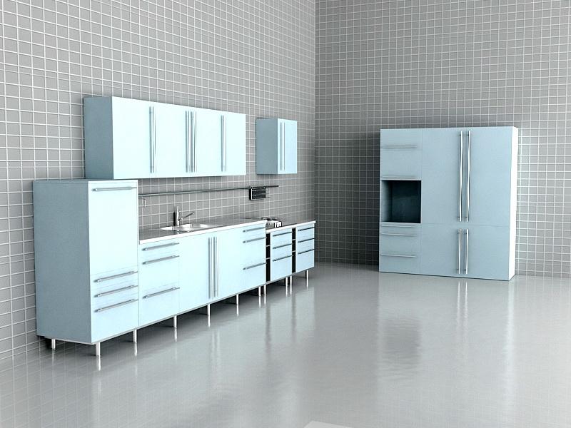 Light Blue Kitchen Design 3d rendering