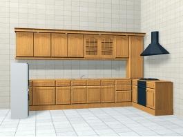 Retro Kitchen Design 3d preview