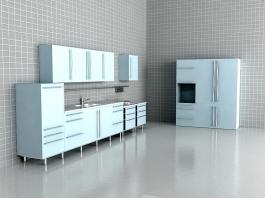 Light Blue Kitchen Design 3d preview