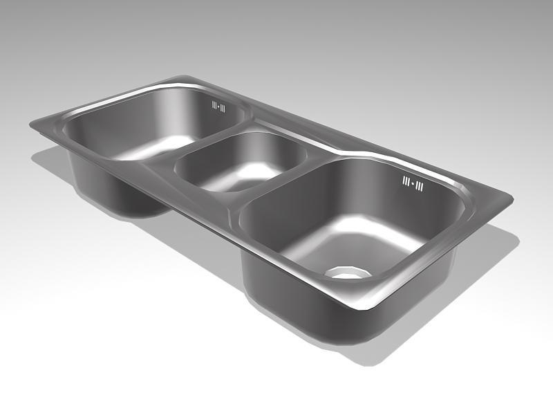 Three Bowl Kitchen Sink 3d rendering