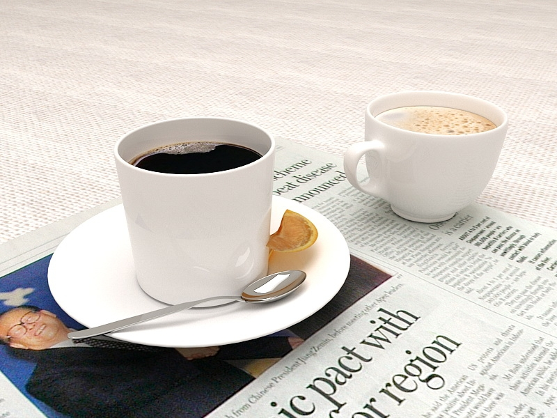 Coffee and News Paper 3d rendering