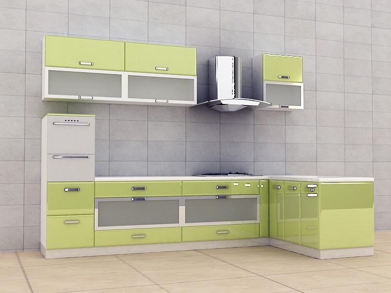 Lemon Green Kitchen Cabinet Design 3d rendering